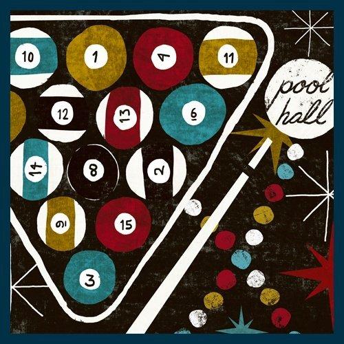 Bild mit Rahmen Michael Mullan - Vegas - Pool Hall - Digitaldruck - Holz blau, 110 x 110cm - Premiumqualität - MADE IN GERMANY - - Bilder Pool Hall