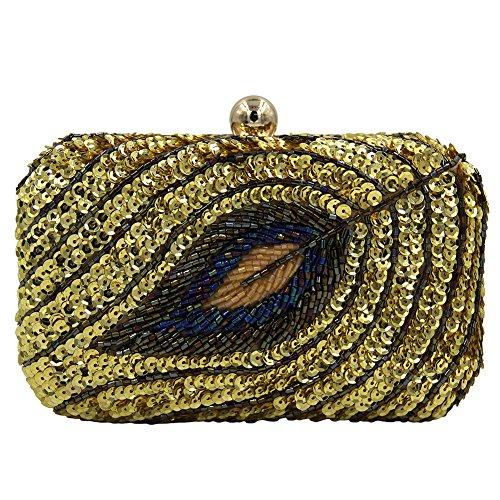 Hand-Perlen Pailletten Abendtasche Hochwertige Vintage Blatt-Typ Damen Handtasche (Sandalen Hand Perlen)