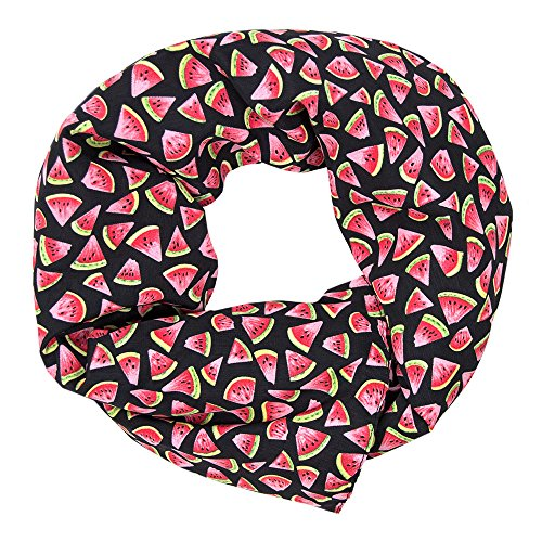 MANUMAR Schal Obst Melone schwarz rot Schal Damen Schal Tuch Sommer Frühling Geschenk Freundin Damen