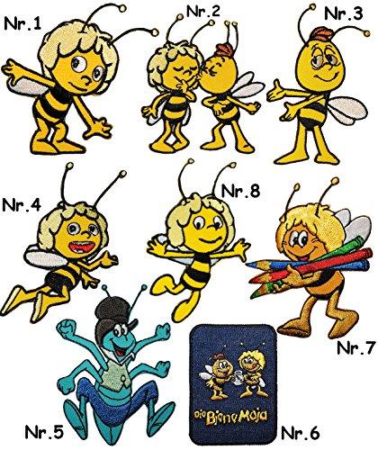 alles-meine.de GmbH 6 Stück _ Verschiedene Bügelbilder -  die Biene Maja & Freunde - Motiv Mix  - 6 cm * 7,8 cm - Aufnäher & Applikation - Bügelflicken - gewebter Flicken - Büg.. -