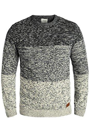 Blend Garry Herren Strickpullover Feinstrick Pullover Mit Rundhals Und Melierung Aus 100% Baumwolle, Größe:XL, Farbe:Black (70155)