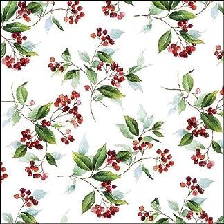 4 servilletas de papel para decoupage – 3 capas, 33 x 33 cm – Navidad – follaje de invierno (4 servilletas individuales para manualidades y arte de servilletas)