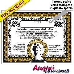 Idea Regalo - Tabella PERSONALIZZABILE con il nome del futuro sposo. Un'idea regalo perfetta per la festa di addio al celibato.