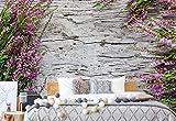 Blumen Heidekraut Rustikale Holzstruktur Fototapete Fotomural - Wandbild - Tapete - 184cm x 254cm / 2 Teilig - Gedrückt auf 115gsm Muralpapier - 1637P4A - Blumen-Vintage, Vintage, Retro &