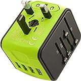 LEDLUX ESE026 Adaptateur de Voyage Universel avec Prise EU UK USA AUS CN avec 4 Chargeur USB 5V 2,4A Max chacun Prend en Char