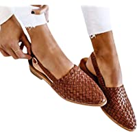 Clenp Flat Mules, Women Slip-on Low Heel Closed Pointed Toe Backless Buckle Strap Mules Sandals Shoes for Spring