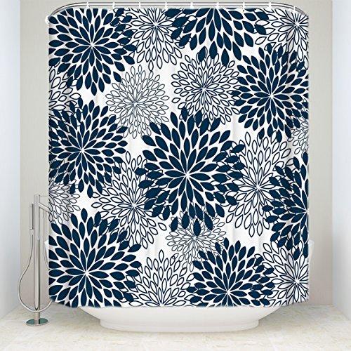 Chic D großfiedrige Dahlie Floral Navy Blau Wasserdicht Polyester Stoff Vorhang für die Dusche Badezimmer Dekoration Stall Bad Vorhänge mit Haken Modern 72x72inch Marineblau - Liner-navy Blau Vorhang Dusche