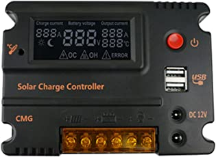 Magideal 20A 12V/24V Solar LCD Panel Battery Regulator Charge Controller Auto Switch