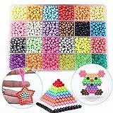 FunBeads 24 Couleurs 3000 Perles de Recharge pour Aqua Pearl et Beados Art Crafts Jouets pour Enfants Perles Classiques et Bijoux