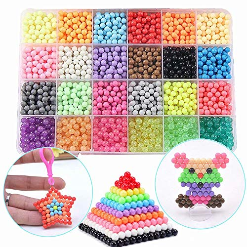 FunBeads Nachfüllset mit Regelmäßige Größe 5mm Perlen kompatibel ist Bastelset Designer Kollektion für Kinder mit Kristallperlen (24 Farben, 3000 Perlen)