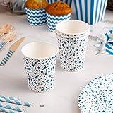 Simplydeko Partybecher | Pappbecher zu Hochzeit, Weihnachten, Party oder Kindergeburtstag (Blaue Sterne)