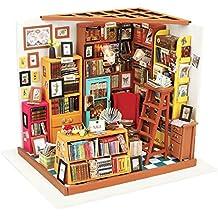 Robotime DIY Casa Libros Woodcraft Kit de Construcción Casa de muñecas hechas a mano con muebles Led Light Handcraft Decoración en Miniatura Casa (estudio de Sam)