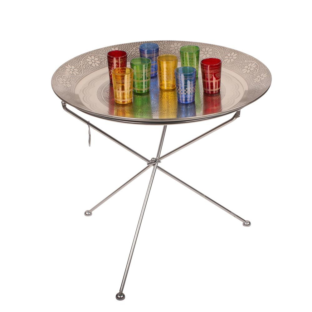 albena shop 73-125 Faiz oriental tavolo da Tè incl. 8 bicchieri / tavolo pieghevole metallo ø 60 cm