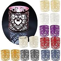 Lot de 6pcs Abat-jour de Bougie à LED Décoration pour Mariage Noël Motif de Coeur - Blanc