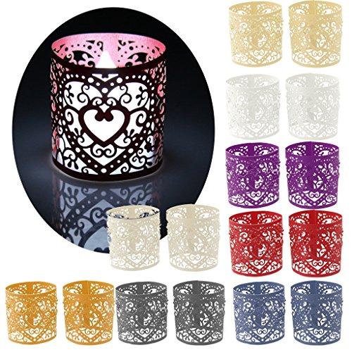 Lot de 6pcs Abat-jour de Bougie à LED Décoration pour Mariage Noël Motif de Coeur - Argent