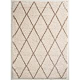 Hochfloor Teppich Berber Raute creme 120 x 170 cm