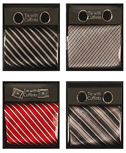 Preisvergleich Produktbild Krawatte und Manschettenknöpfe Set 2-tlg Bündel 4er Pack in schwarz Streifen, Grafik, Rot Streifen Und Silber Streifen Farben