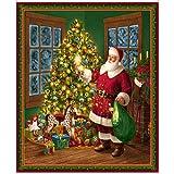 Stoffbahn mit Weihnachtsmännern und Christbäumen, QT77, 90 x 110 cm, 100 % Baumwolle, von Quiting Treasures