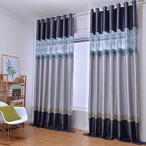 NACHEN Blackout Öse Fenster Vorhänge Stickerei Nähen Schlafzimmer Wohnzimmer Vorhang, 2 Stück, Grey, W300*H270CM -