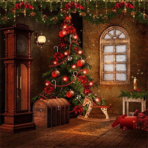 YongFoto 3x3m Foto Hintergrund Weihnachten Weihnachtsbaum rote Kugeln Holz Box Fenster alte Uhr Hobbyhorse Laterne Innenraum Frohes Jahr Fotografie Hintergrund Photo Kinder Hochzeit Fotostudio - Alte Holz Uhr