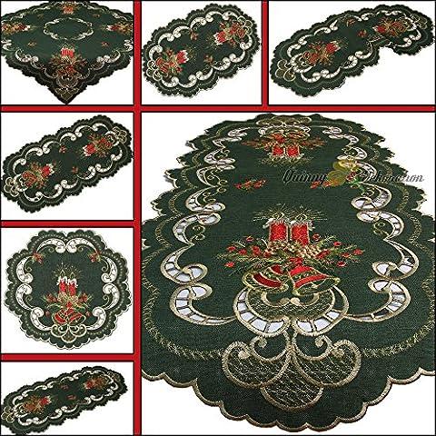Quinnyshop Noël Bougie Clochette Chemin de table 40 x 90 cm Ovale Polyester, Vert