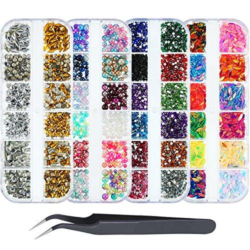 Nail art strass set con strass acrilico unghie a bottone unghie finte perle unghie paillettes e pinzette