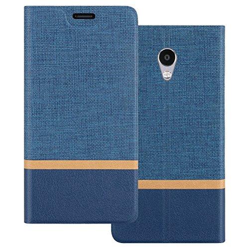 Custodia Meizu M5S, Shanphone Premium Pu Portafoglio Protettiva in pelle Bookstyle Flip Cover Stand Case per Meizu M5S, Blu