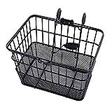 Ohuhu® rostfrei Fahrradkorb Fahrradlenker Korb vorne mit Halterung Gitterboden Schwarz
