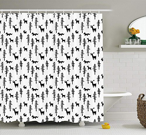 Forest Decor Shower Curtain, Christmas Spirit Inspired Sketchy Reindeer Pine Trees Rabbits Animal Design, Fabric Bathroom Decor Set with Hooks, 60W X 72L Inches Long, Black White