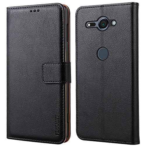 Peakally Sony Xperia XZ2 Compact Hülle, Premium Leder Tasche Flip Wallet Case [Standfunktion] [Kartenfächern] PU-Leder Schutzhülle Brieftasche Handyhülle für Sony Xperia XZ2 Compact 5.0