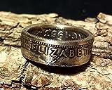Coinring, Münzring, Ring aus Münze (1 Shilling, Australien 1953), 500er Silber - Double Sided coin ring - Größe 52 (16.6), handgeschmiedetes Unikat