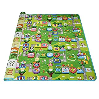Arshiner Baby Spielteppich 200x180 Spielmatte Kinderteppich Zwei Seite für Innen / Außen Alphabet Zahlen und Geldsäcke
