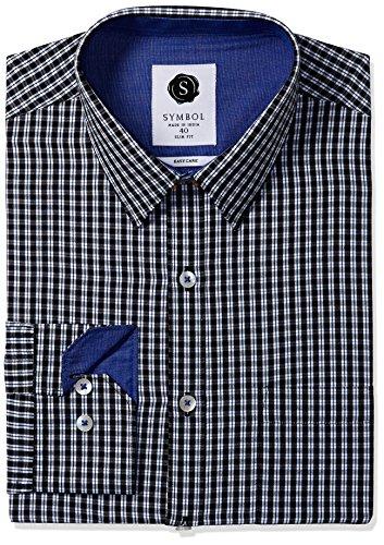 Symbol Men's Formal Checks Slim Fit Shirt (SYMCH2DES101_40_Black)