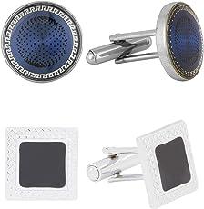 The Jewel Box Glossy Formal Shirt Round Designer Dots Blue Silver Brass Cufflinks Pair Boys Men Gift Box Corporate Diwali