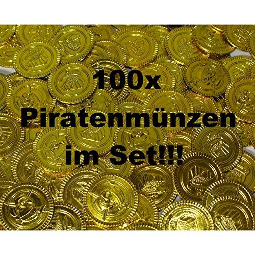 100x Münzen Piratenmünzen Taler Goldmünzen Schatz Mitgebsel Kindergeburtstag