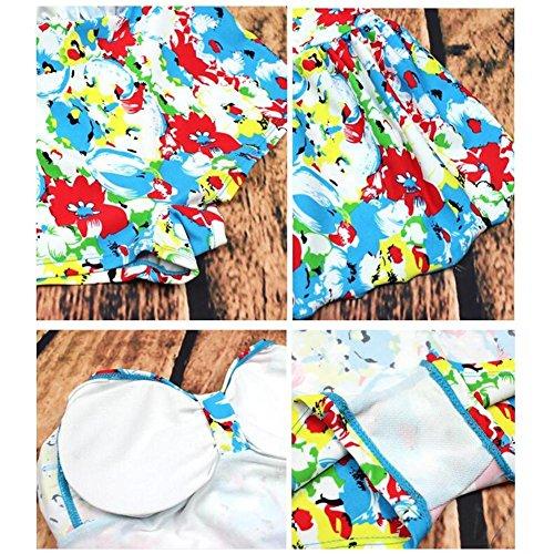 Frauen Blumendruck Kleid Badeanzug Bademode Blue