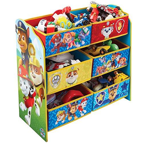 Figur Kinder Kostüm Buch - Paw Patrol Regal zur Spielzeugaufbewahrung mit sechs Kisten für Kinder, Holz, Red and Blue, 30 x 63.5 x 60 cm