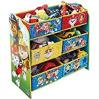 Preisvergleich für Paw Patrol Regal zur Spielzeugaufbewahrung mit sechs Kisten für Kinder, Holz, Red and Blue, 30 x 63.5 x 60 cm