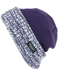 Thinsulate Fine Knit Beanie Hat with Thermal Lining and Marl Turn-up
