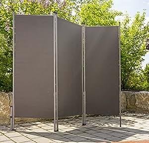 Paravent outdoor metall stoff anthrazit - Sichtschutz garten stoff ...
