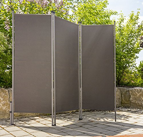 CV Paravent Outdoor Metall/Stoff anthrazit Trennwand Raumteiler Sichtschutz Windschutz Sonnenschutz 170 x 170 cm