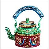 IHandikart Handicrafts Hand Painted Aluminum Tea Kettle Pot,Multicolor Tradition Tea Pot/Kettle Art Home And Garden Kitchen And Dining Serve Ware Table Ware Coffee & Tea (Elegent Degine ) (1 Litre, 22 Cm), 5072…