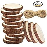 meetory 20pcs Unfinished Predrilled rodajas de madera natural redondo no Log discos con agujeros,...