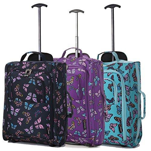 Lot de 3 Super Léger de Voyage Bagages Cabine Valise Sac à Roulettes (Papillons Menthe + Papillons Marine + Papillons Violet)