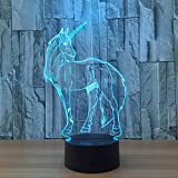 Leisurely Lazy Unicorn 3D Optical Illusion Lamp 7 Colors Change and 15 Keys Remote Control LED Night Light Toys for Children Kids