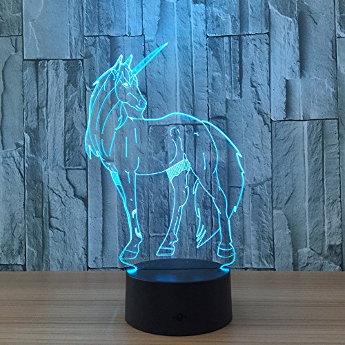 Leisurely Lazy Unicorn 3D Optical Illusion Lamp 7 Colors Change and 15 Keys Remote Control LED Night Light Perfect Gifts Toys for Children Kids