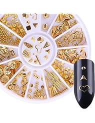 Born Pretty 1Boîte Doré Rivet 3d Nail Décoration cœur Feuille Coque Triangle Perle Manucure Nail Art Décoration