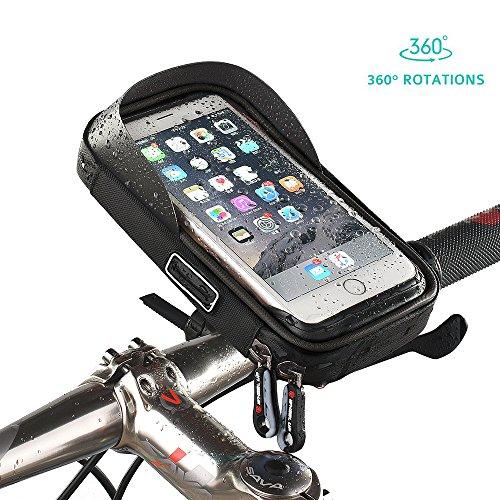Fahrradtasche Fahrrad Rahmentasche Oberrohrtasche Fahrrad Tasche Handy halterung Sensitive Touch-Screen Wasserdicht Groß Schwarz für iPhone X / 8 / 7/ 7Plus / 6 / 6s / 6Plus / Samsung Galaxy S7/S7