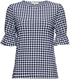 FIND Womens Shirred Sleeve Gingham Top