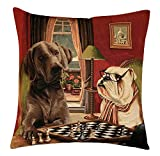 BelgianTapestries Edle Kissenhülle, Zierkissenhülle 45 X 45 cm Dogs Playing Chess, Gobelin Cushion